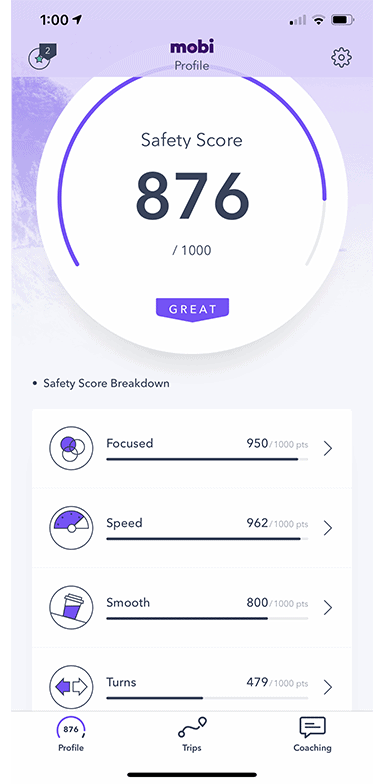 Mobi home page - Safety score